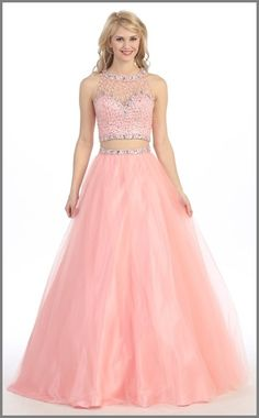 A-Line Two-Piece Prom Dress Beaded Short Top Long Skirt