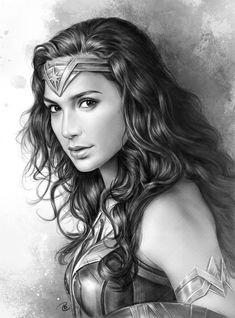 Wonder Woman played by Gal Gadot Wonder Woman Kunst, Wonder Woman Drawing, Wonder Woman Art, Gal Gadot Wonder Woman, Wonder Women, Wonder Woman Movie, Marvel Noir, John Law, Super Heroine