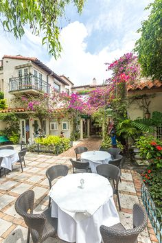 Charming courtyard dining on Worth Avenue in Palm Beach