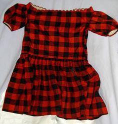 Black and white check child's dress and pincushions :: Locust Grove