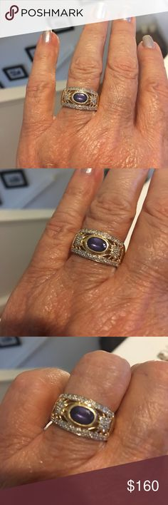 Beautiful 14K Tanzanite ring Beautiful and unusual setting on this tanzanite ring. Tiny diamond chips make it sparkle and shine.  Gift years ago. Lighter color of Tanzanite not as valuable as dark dark blue purple. Fantastic buy! ❌FIRM UNLESS BUNDLED.❌ Jewelry Rings