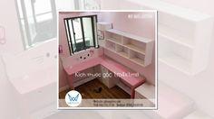 Bàn học đôi Hello Kitty sắc màu trắng hồng có giá sách treo tường đặt gó...
