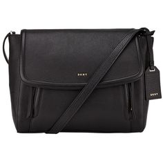 DKNY Chelsea Vintage Small Leather Messenger Bag , Black (£270) ❤ liked on Polyvore featuring bags, messenger bags, black, leather crossbody, travel crossbody, genuine leather messenger bag, courier bags and leather cross body bags