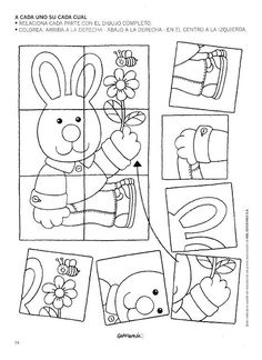 Crafts,Actvities and Worksheets for Preschool,Toddler and Kindergarten.Lots of worksheets and coloring pages. Puzzles Für Kinder, Easter Puzzles, Easter Worksheets, Easter Printables, Preschool Worksheets, Preschool Learning, Preschool Crafts, Easter Games, Easter Activities