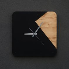 Northshire Exclusive Wall Clocks - Minimal Design - Handcrafted - 15.7 x 15.7 (40cm x 40cm) - 18mm wood (solid ladin) - 1.5mm steel - Mat static black dyed - Silver hour and minute hand - Krom bracket on back - Free shipping - DHL Express (3-4 days)