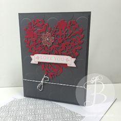 Valentines Day, Bloomin' Heart, handmade card by LisaAnnBernard on Etsy