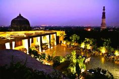 Thai High restaurant in Delhi. Would go there for a chill time, outside seating, view of Qutub Minar and good service