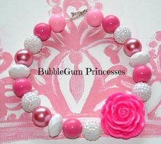 Chunky BubbleGum bead PINK Pearl White necklace girl toddler Jewelry on Etsy, $18.00