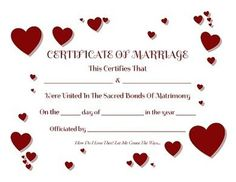 Keepsake Marriage Certificates - Free Graphics and Printables Dog Wedding, Wedding Vows, Friend Wedding, Dog Marriage, Marriage Humor, Wedding Certificate, Marriage Certificate, Printable Certificates, Certificate Templates