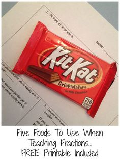 Five great foods to introduce fractions and equivalent fractions. Free printable included. 3rd Grade Fractions, Teaching Fractions, Fifth Grade Math, Equivalent Fractions, Math Fractions, Teaching Math, Third Grade, Fourth Grade, Teaching Ideas