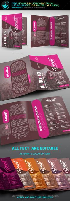 Breast Cancer Charity Event Program Template This breast cancer program template comes with a modern design that's sure to please the eyes. It comes with a beautiful fuchsia color palette that inspires its vintage touch. If you need an elegant program that has spaces for photos and can be customized to your delight, then this one might be the choice for you.