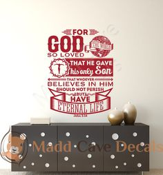 John 3:16 For God So Loved The World Vinyl Wall by MaddCaveDecals