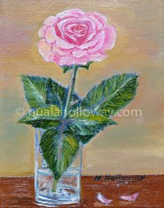 """""""Pink Rose"""" by Nuala Holloway - Oil on Canvas Still Life, Oil On Canvas, Glass Vase, Rose, Flowers, Pink, Painting, Home Decor, Art"""