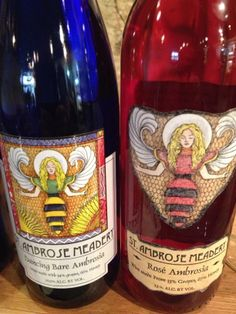 Four varieties of Mead wine from Savannah Bee Company, each with colorful unique label.