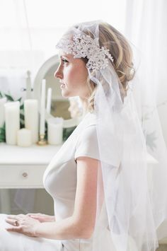 Boho Wedding Veil Cap with Flower Lace and Pearls