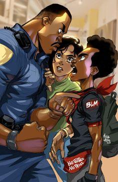 Miles Spiderman, Miles Morales Spiderman, Black Love Art, Black Girl Art, Black Anime Characters, Comic Book Characters, Kickass Comic, A Level Art Sketchbook, Trill Art