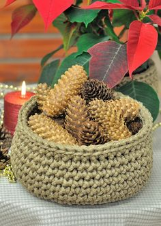 Handmade crochet basket !  This unique design Basket is crocheted from 100% linen flax rope.  Exclusive hand knitted basket is a fashionable home
