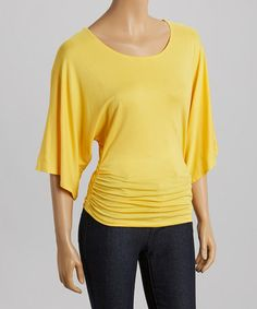 This Yellow Cape-Sleeve Top is perfect! #zulilyfinds