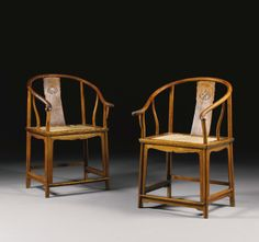 A PAIR OF HUANGHUALI HORSESHOEBACK ARMCHAIRS, QUANYI<br>17TH CENTURY | Lot | Sotheby's