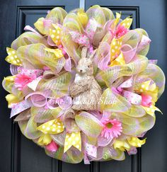 Sweet natural bunny Easter Mesh Wreath