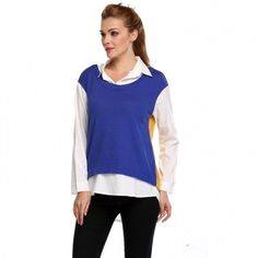 Stylish Lady Womens Casual Long Sleeve Lapel Patchwork Shirt Blouse Tops
