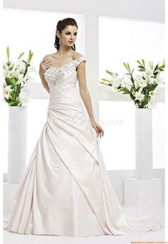 V-neck Bodenlang Schlichte Günstige Brautkleider aus Satin