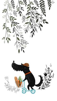 Black and White Leaves Puppy Cute iPhone Wallpaper