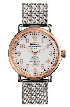 Shinola 'The Runwell' Mesh Band Watch, 41mm available at #Nordstrom
