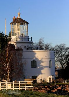 West Usk Lighthouse, Newport South Wales. Built in 1821, this lighthouse stands on the Usk River and the Severn Estury