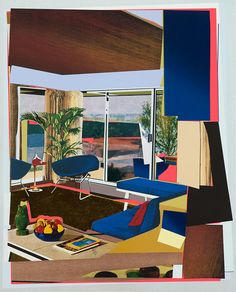 MICKALENE THOMAS, Interior: Blue Couch and Green Owl