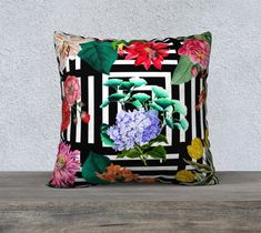 Pillow Cover, Geometric, Vintage Flowers, Black and White, Flowers and Leaf, Accent Throw Pillow, Large Sofa Cushion, Upholstery Velveteen