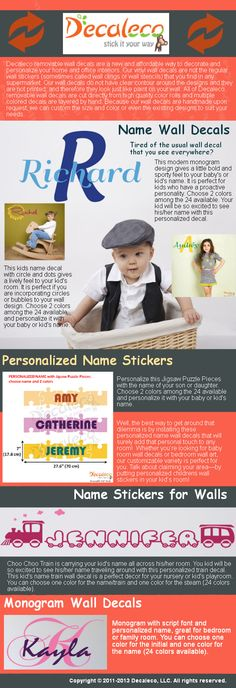 Tired of the usual wall decal that you see everywhere? Well, the best way to get around that dilemma is by installing these personalized name wall decals that will surely add that personal touch to any room! We have wall decals for nursery, completely customizable by adding your child's name.Visit our site http://decaleco.com/product-category/vinyl-monogram-decals-baby-name-wall-decals/ for more information on Decaleco Wall Decals