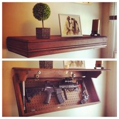 Floating Secret storage shelf. by RoughhouseSalvage on Etsy //.etsy & Pin by Jack Hash on Weaponry | Pinterest | Wood working Hidden gun ...