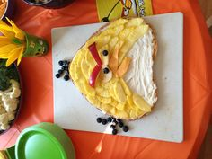 Angry Bird fruit cake pineapples blueberries apples cheese
