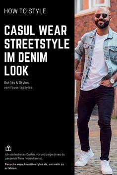Casual Wear Outfit für Männer. Denim Look im Streetstyle mit Jeanshose, T-Shirt, Jeansjacke und Sneaker. Lässiges Outfit für die Freizeit, passend für den Frühling. Erfahre welche Teile zu diesem Herrenoutfit passen! Outfits für Männer mit passenden Teilen bei Favorite Styles. #favoritestyles #mode #fashion #outfit #männer #herren #style #stil #männermode #herrenmode #mensoutfit #mensfashion #ideen #inspiration #denim #streetstyle #casual #lä