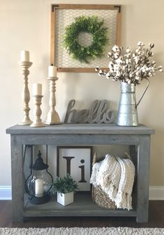 "modified Ana White's Rustic X Console table, 48"" wide and no middle shelf, used Minwax Classic Gray stain"