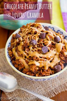 Chocolate Peanut Butter Lovers' Granola - an easy, healthy treat for all of us with a sweet tooth! @Sally McWilliam [Sally's Baking Addiction]