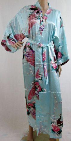 Pale Blue Silk LONG Bathrobe, House coat, kimono, dressing gown personalised custom bridesmaid bride mother of the bride