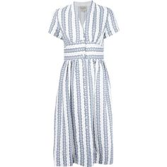 Sea Striped v-Neck Dress (335 BAM) ❤ liked on Polyvore featuring dresses, blue, striped dresses, multi color striped dress, blue striped dress, v-neck dresses and blue linen dress
