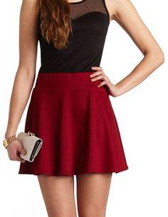 Solid High-Waisted Skater Skirt: Charlotte Russe