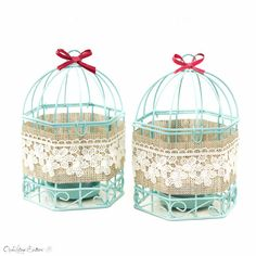 Christmas Gift Blue Bird Cages Metal Candle by OpenVintageShutters
