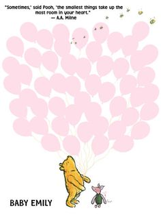 Baby Shower Guest Book Poster for a Girl, Bunch of Pink Balloons, Winnie the Pooh and Piglet  Balloons Poster Print - DIGITAL FILE