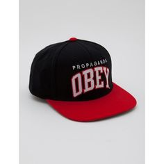 36c1fafdf931b Obey Throwback Snapback Cap - Black Red ( 13) ❤ liked on Polyvore featuring  men s fashion