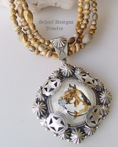 Schaef Designs Paint Horse Bridle Rosette & Sterling silver pendnat on oxidized 10mm sterling silver bench bead necklace | Schaef Designs artisan handcrafted Southwestern, Native American & Equine Jewelry | Online upscale southwestern equine jewelry boutique gallery | New Mexico