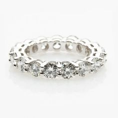 Eternity ring in white gold, set with colorless diamonds. Diamond Wedding Bands, Diamond Rings, Wedding Rings, Jewelry Boards, White Orchids, Eternity Ring, Fine Jewelry, Jewellery, White Gold