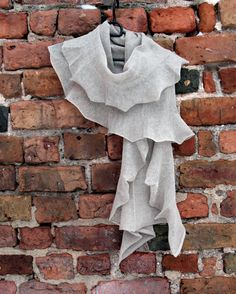 Gray Linen Scarf Shawl Wrap Stole Light by Initasworks on Etsy, $75.00
