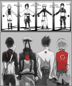 Naruto | Sai, Naruto, Sasuke & Sakura -Team 7.. Team Kakashi. I don't know why, but I love this. ☺️
