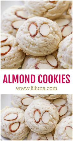 These Almond Cookies are not only soft and a bit chewy – but they're easy to make and are full of flavor. With hints of almond throughout the cookie, these cookies are sure to become a family favorite in no time. Mini Desserts, Cookie Desserts, Just Desserts, Dessert Recipes, Biscuit Cookies, Yummy Cookies, Cake Cookies, Cupcakes, Italian Cookie Recipes