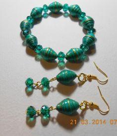 Pulsera y Aretes verde esmeralda - Bisuteria de papel - Quilling Jewelry