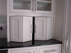 Extraordinary Folding Cabinet Doors for White Kitchen Cabinets with Black Countertops also Brushed Nickel Cabinet Bar Pull from Cabinet Decor Accents Cabinet Door Hardware, Pocket Door Hardware, Cabinet Door Styles, Pocket Doors, Cabinet Ideas, Cabinet Decor, Cabinet Design, Kitchen Cupboard Doors, Kitchen Cabinet Hardware